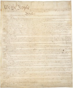 The first page of the American constitution, which only discusses the legal authority of the state.