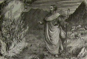Artist's depiction of Moses before the burning bush, from the 1890 Holman Bible, courtesy Wikipedia.