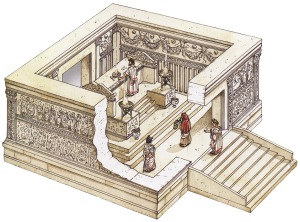 Depiction of a Roman altar. At a  sight like this one, the Lord turned the Romans' superstition against them.